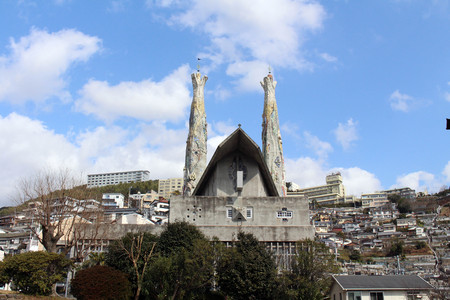 The churchchapel with houses around. Taken in Nagasaki, Japan, February 2018. Reklamní fotografie