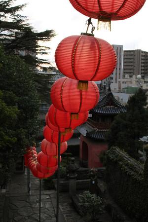 Translation: Sofukuji Temple, an incorporation of Chinese culture. Taken in Nagasaki, Japan, February 2018. Stock Photo