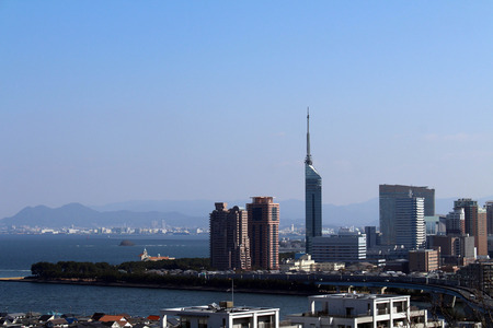 The view from Atago Jinja (located on the hill). Taken in Fukuoka, Japan, February 2018.