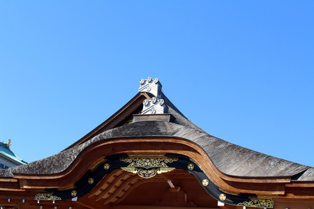 Translation: The temple around Nagoya Castle, which was under construction. Taken in Nagoya,  Japan - February 2018.