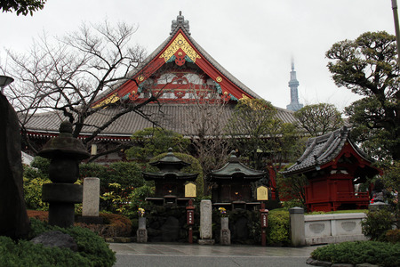 Sensoji Temple in Asakusa and Tokyo Tower as its background.  Taken in Tokyo, February 2018.