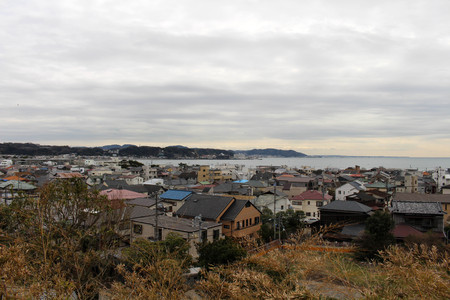 The lookout view of Kamakura city, from Hase-dera Temple. Taken in Kanagawa, Japan - February 2018.