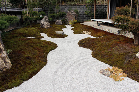 The Japanese zen garden at Hase-dera or Hase-Kannon temple complex. Taken in Kanagawa, Japan - February 2018. Stock Photo