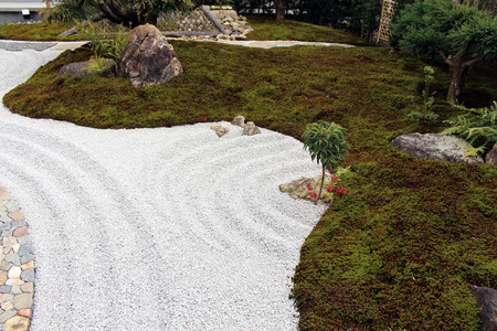 The Japanese zen garden at Hase-dera or Hase-Kannon temple complex. Taken in Kanagawa, Japan - February 2018. Editorial