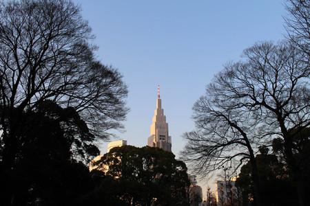 The NTT Docomo Yoyogi Building (4th tallest), as seen from Meiji Jingu and Yoyogi station. Taken in Tokyo, February 2018.