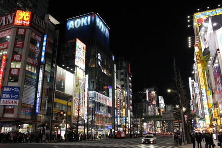 The happening and crowded area of Akihabara in Chiyoda. A heaven for anime lovers. Taken in Tokyo, February 2018. Editorial