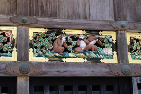 The three wise monkeys found at Toshogu Temple. Hear, Speak, See - no evil. Taken in Nikko, February 2018.