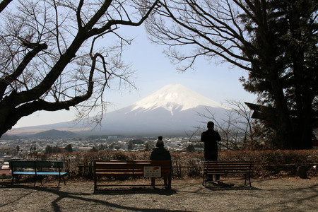Mount Fuji as seen from Chureito Pagoda. When religion meets nature. Taken in Yamanashi, Japan - February 2018.