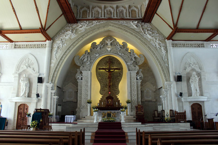 The Holy Spirit Cathedral of Catholic Church in Bali. Beautiful assimilation with local Balinese culture. Taken in Denpasar, May 2018. Redakční