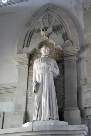The statue of John Paul II inside the Holy Spirit Cathedral of Catholic Church in Bali. Taken in Denpasar, May 2018. Redakční