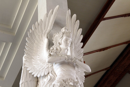 The wonderful sculpture of (accultured) angels inside The Holy Spirit Cathedral of Catholic Church in Bali. Taken in Denpasar, May 2018.