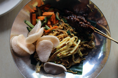 Mie goreng. Another Indonesian national dish (and probably Malaysian, Singaporean, and Bruinean too). Stock Photo