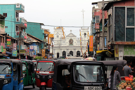 The church or shrine of St. Anthony in Colombo, the situation around. Taken in Sri Lanka, August 2018.