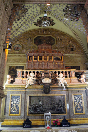 The tomb of the incorrupted body of Francis Xavier at The Basilica of Bom Jesus of Old Goa (Goa Velha). Taken in India, August 2018 Editorial