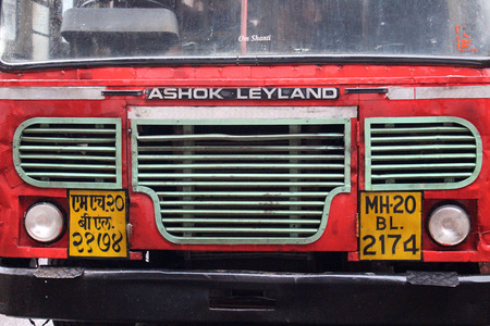 Translation: The red local public bus in Aurangabad, on the way to Ajanta or Ellora Caves. Editoriali