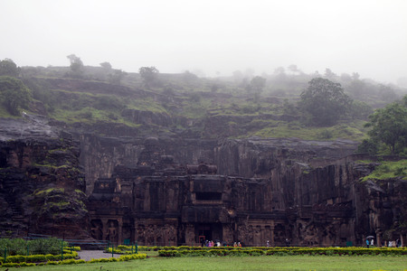 The wonder of Kailasa of Ellora caves, the rock-cut monolithic temple. Taken in India, August 2018. Editorial