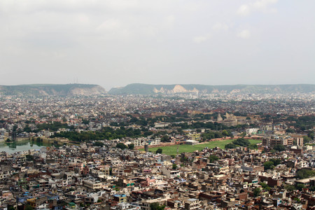 Jaipur city as seen from Nahargarh Fort on the hill. Taken in India, August 2018.