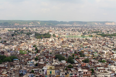 The crowded Jaipur city as seen from Nahargarh Fort on the hill. Taken in India, August 2018.