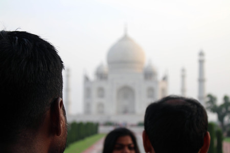 The tourists taking photos of Taj Mahal in a crowd. Taken in Agra, India, August 2018 Sajtókép