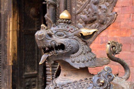 Translation: The lion like statues around Bhaktapur Durbar Square. Taken in Nepal, August 2018.