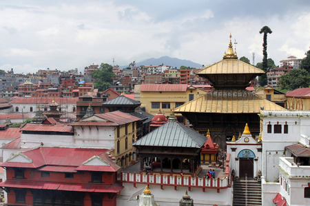 The view Pashupatinath Temple in Kathmandu from across the river. Taken in Nepal, August 2018.