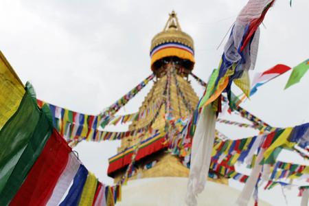 The colorful prayer flags of Boudhanath Stupa in Kathmandu. Taken in Nepal, August 2018. Editorial