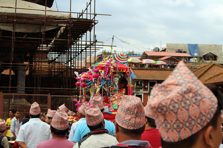 Local Nepali people are having a festival around Patan Durbar Square. Taken in Nepal, August 2018.