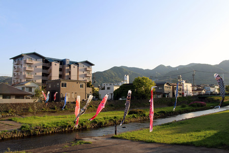 Japanese koinobori flying koi carp fish in Beppu during Golden Week. Taken in Oita, April 2019. Stock Photo