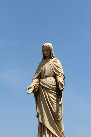 A closeup of statue of Mary at Monastery of Our Lady of the Annunciation in Japan. Taken in Oita, April 2018