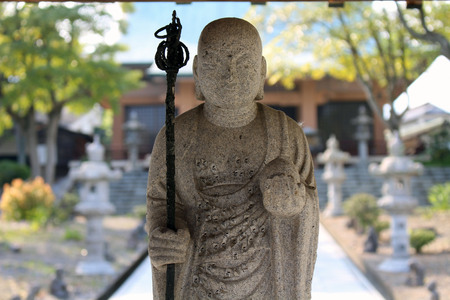 The closeup view of Wandering monk statue at Reisenji Temple. Taken in Beppu, Oita, April 2019