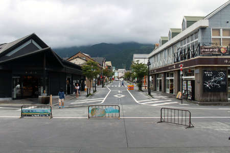 Shops around Yufuin station, a Japanese onsen or hotspring destination. Taken in June 2019.