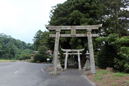 The gate of Ikime Jinja, a Japanese shrine in the outskirt of Beppu, Japan. Taken in June 2019. Redakční