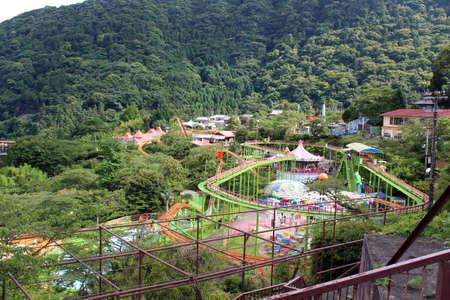 A lookup view of the empty Rakuten-ji theme park in the slope of Beppu, Oita, Japan. Taken in June 2019.