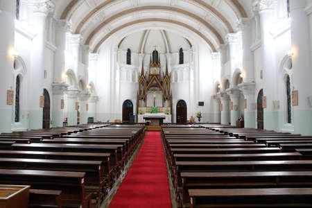 The interior of Beppu Catholic Church in Japan. Taken in June 2019.