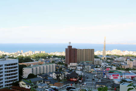 Western Beppu overlooking the tower, Yamaguchi apartment, and Beppu Bay. Taken in June 2019.