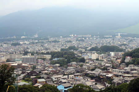 Overlook view of Beppu the onsen town, taken from Myohoji Temple in Japan. Taken in June 2019.