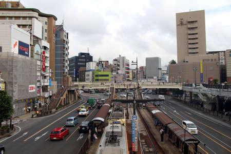 The public transportation system in front of Nagasaki station, Japan. Taken in August 2019.