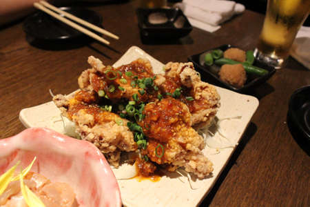 Korean fried chicken served at a Japanese izakaya