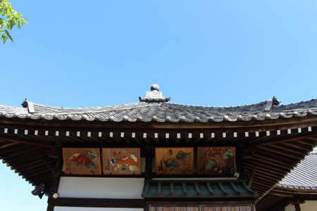 Roof and paintings of Asukadera Temple in Asuka. Taken in September 2019. Editorial