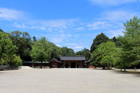 Entrance gate of Kashihara Jingu Temple in Nara, Japan. Taken in September 2019. Editorial