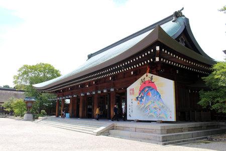 Giant ema wooden prayer plaque, depicting boar or pig at Kashihara Jingu. Taken in September 2019.