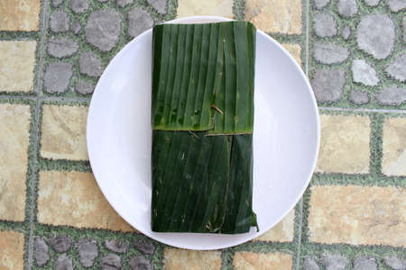 Tempe or tempeh wrapped in banana leaves. Traditional protein source in Indonesia.