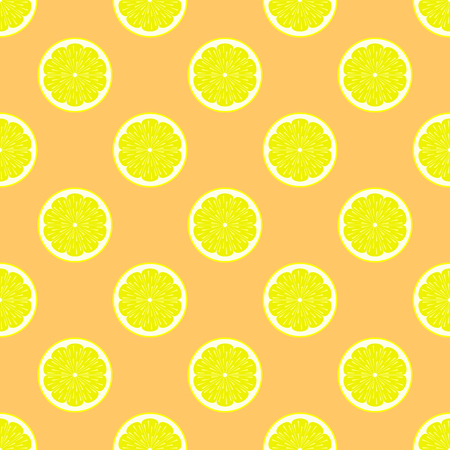 citric: Lemon slices on orange background seamless pattern