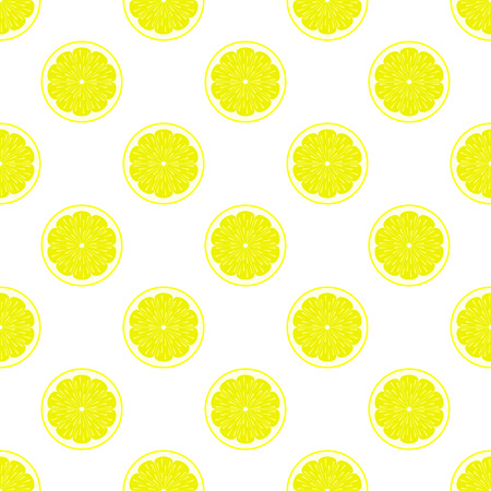 citric: Lemon slices on white background seamless pattern