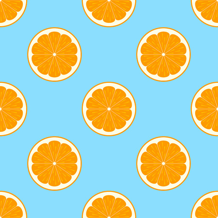 orange slices: Orange slices on blue background seamless pattern Illustration
