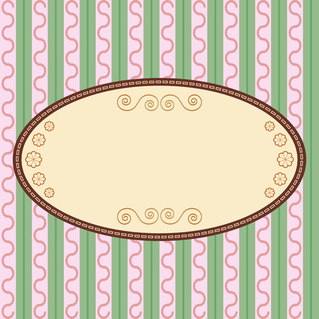 pink and green: Oval vintage label on pink green background Illustration