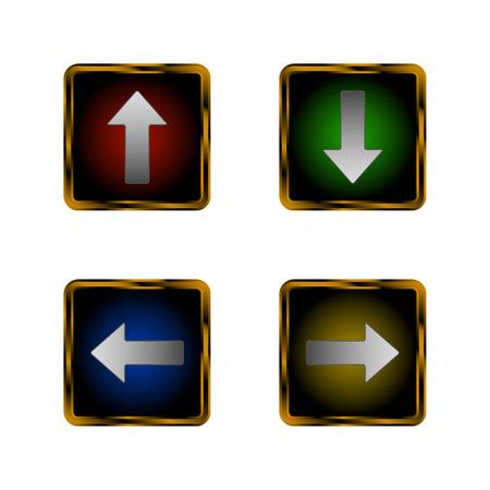orientation marker: Set of arrows in golden frames