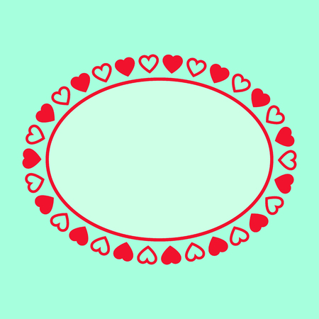 oval frame: Oval frame with hearts