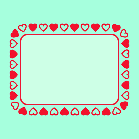 the rectangle: Rectangle frame with hearts