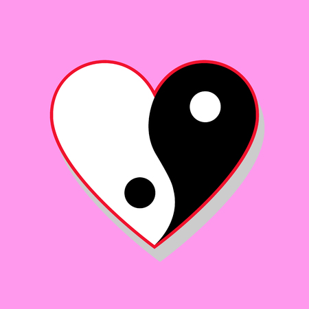 chinese symbol: Vertical yin yang heart on pink background Illustration
